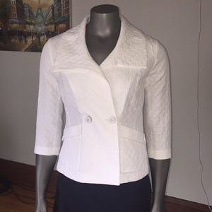 CAbi White 3/4 Sleeve Club Blazer - Size S